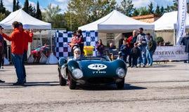 Apogée de Tojeiro 1100 1958 dans le salon automobile montjuic de circuit de Barcelone d'esprit images stock