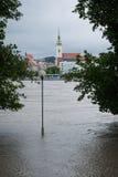 Apogeo en el río Danubio en Eslovaquia Imágenes de archivo libres de regalías