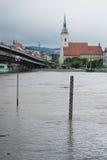 Apogeo en el río Danubio en Eslovaquia Foto de archivo libre de regalías