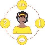 Apoie a cor, ícones do serviço e auriculares amarelos fêmeas Imagens de Stock Royalty Free