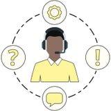Apoie a cor, os ícones do serviço e os auriculares amarelos masculinos Fotografia de Stock Royalty Free