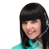 Apoie o operador do telefone nos auriculares, isolados no branco fotografia de stock