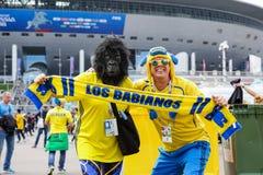 Apoio alegre de dois amigos da equipa de futebol da Suécia foto de stock royalty free