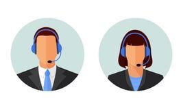 Apoio ao cliente do homem e da mulher, Avatars do serviço Imagens de Stock Royalty Free