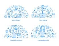 Apoio ao cliente & ilustrações em linha do ponto do auxílio ilustração do vetor