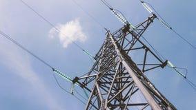 Apoio bonde de cabos distribuidores de corrente de alta tensão Indústria energética Produção, distribuição e transmissão de eletr video estoque
