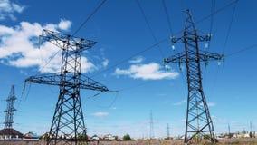 Apoio bonde de fios de alta tensão do poder Central elétrica, produção e transporte da eletricidade Fonte de alimentação filme