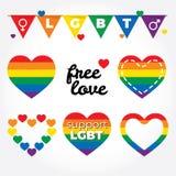 Apoio de Lgbt, luta para direitos dos homossexuais, grupo do gráfico dos corações, cores do arco-íris Imagens de Stock
