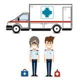 Apoio dos primeiros socorros da equipe do paramédico da ambulância, qualidade super ilustração do vetor