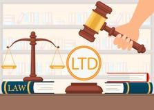 Apoio legal do vetor liso antes de fazer a decisão ilustração stock