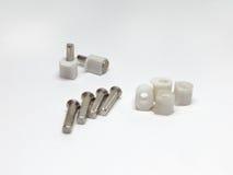 Apoios de prateleira Combine dos pinos de metal e das peças plásticas com o f Imagem de Stock