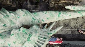Apokalipsa usa, Ameryka Widok Z Lotu Ptaka zniszczony Nowy Jork miasto, statua wolności Apokalipsy pojęcie super ilustracja wektor