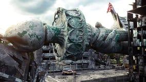 Apokalipsa usa, Ameryka widoku Nowy Jork zniszczony miasto, statua wolności Apokalipsy pojęcie świadczenia 3 d royalty ilustracja