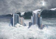 Apokaliptyczna scena zanurzająca tsunami miasto zdjęcia royalty free