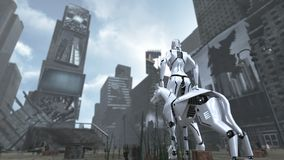 Apokaliptyczny czasu kwadrat Nowy Jork Manhattan z fantastyka naukowa psem i robotem świadczenia 3 d ilustracja wektor
