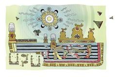 Apokaliptyczny krajobraz z górami w ornamentacyjnym stylu Mayans i morzem erupcja Woda w postaci sulfuric ilustracja wektor