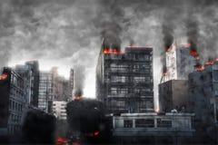 apokaliptyczny pejzaż miejski Cyfrowej ilustracja royalty ilustracja