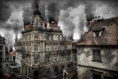 Apokaliptyczny widok miasta śródmieście Cyfrowej ilustracja ilustracji