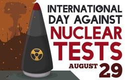 Apokaliptyczny widok z głowicą bojowa Promować dzień przeciw testom jądrowym, Wektorowa ilustracja royalty ilustracja