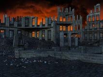 Apokalypens stad fördärvar, jordskalvet, krig arkivfoto