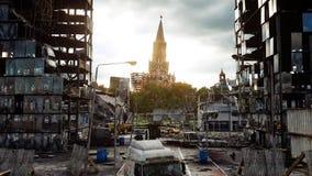 Apokalyps av Ryssland Flyg- sikt den förstörda Moskvastaden Begrepp framförande 3d Royaltyfria Foton