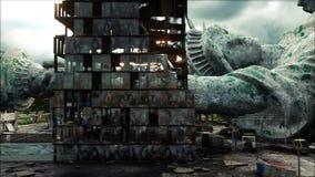 Apokalyps av USA, Amerika Flyg- sikt av det förstörda Newet York City, staty av frihet Apokalypsbegrepp super stock illustrationer