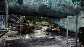 Apokalyps av USA, Amerika Flyg- sikt av det förstörda Newet York City, staty av frihet Apokalypsbegrepp super royaltyfri illustrationer