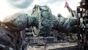 Apokalyps av USA, Amerika sikt förstörda New York City, staty av frihet Apokalypsbegrepp framförande 3d Royaltyfria Bilder