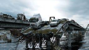 Apokalypshavssikt förstörd bro Armageddonbegrepp Toppen realistisk animering 4K royaltyfri illustrationer