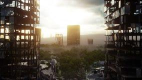 Apokalypsstad i dimma Flyg- sikt av den förstörda staden Apokalypsbegrepp Toppen realistisk animering 4K stock illustrationer