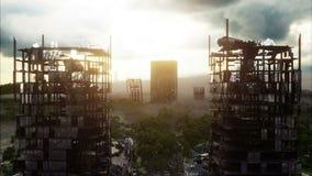 Apokalypsstad i dimma Flyg- sikt av den förstörda staden Apokalypsbegrepp Toppen realistisk animering 4K royaltyfri illustrationer
