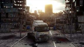 Apokalypsstad i dimma Flyg- sikt av den förstörda staden Apokalypsbegrepp Toppen realistisk animering 4K stock video