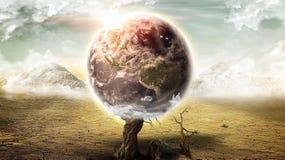 Apokalyptische Erde auf Wüstenlandschaft (Elemente dieses Bildes geliefert von der NASA) Stockfoto