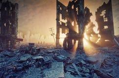 apokalyptische Sonnenuntergangansicht lizenzfreie abbildung