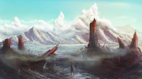 Apokalyptische verlorene Planetenlandschaftskonzeptkunst Stockfoto