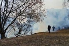 Apokalyptischer Überlebender des Postens in der Gasmaske ein Feuer im Wald, trockenes Gras brennt lizenzfreie stockbilder