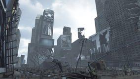 Apokalyptisches ruiniertes Time Square New York Manhattan Wiedergabe 3d Stockfoto