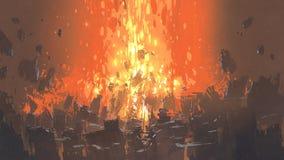 Apokalyptisk explosion med många fragment av byggnader Royaltyfria Foton