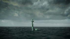 Apokalyptisk vattensikt Gammal staty av frihet i storm animering 3D vektor illustrationer