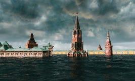 Apokalyptisk vattensikt stads- flod, rysk röd fyrkant storm 3d framför Arkivfoto