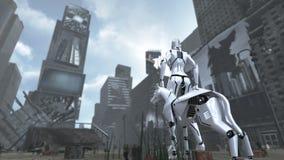 Apokalyptiska Time Square New York Manhattan med den science fictionroboten och hunden framförande 3d vektor illustrationer
