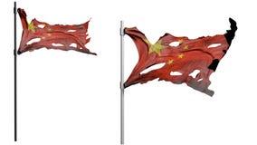Apokalyptiskt trasigt smutsar ner flaggan av Kina Isolat på vit 3d framför Royaltyfri Bild