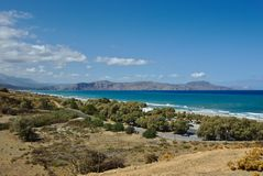 Apokoronos海岸和Drapano半岛 图库摄影