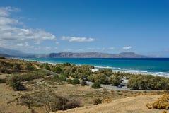 Apokoronos coast and Drapano peninsula. Wide-angle view of the Cretan north coast from Episkopi to Georgioupoli and the Drapano peninsula Stock Photography