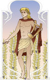 Apollo. Antique god on vintage background in art Nouveau style Royalty Free Stock Photography