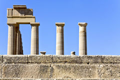 Apollo ancient temple, Rhodes, Greece. Lindos archaeological site at Rhodes island, Greece Royalty Free Stock Image