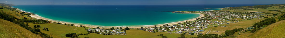 Apollo Bay. Panorama of Apollo Bay, Great Ocean Road, Victoria, Australia on a bright sunny day Stock Images
