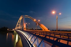 Apollo bridge in Bratislava. In Slovakia in the evening Royalty Free Stock Images