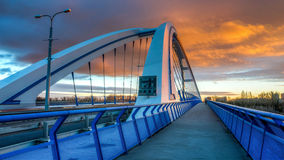 Apollo bridge in Bratislava, Slovakia with nice sunset. Sky Royalty Free Stock Photos