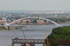 Apollo Bridge (la maggior parte del Apollo) e Franz Josef Bridge smantellano Bratislava, Slovacchia immagine stock